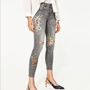 ZARA Gray Wash Floral Painted Ripped Knee Jeans